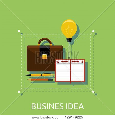Business idea, innovation and solution, creative design, vector illustration. Business idea in briefcase and notebook