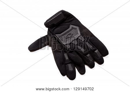 Motorcycle gloves isolated on white background. top view.