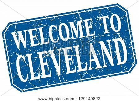 welcome to Cleveland blue square grunge stamp