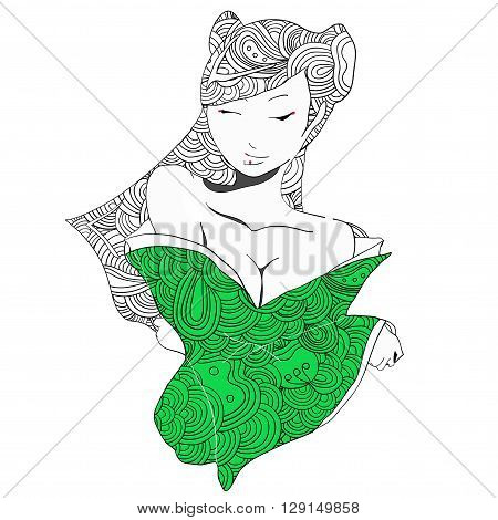 stylized vector illustration of a beautiful geisha girl in green clothes. Japanese girl. Zentangle. Doodle style. Can be used as adult coloring book, coloring page, card.