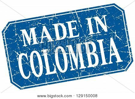 made in Colombia blue square grunge stamp