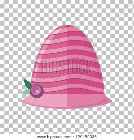 Summer hat isolated on transparent background. Fashionable red Panama hat with red ribbon for protection from sun and rain weather conditions. Garment for wearing on the head. Vector illustration