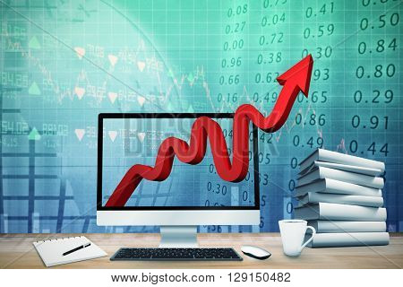 Composite image of virtual desk against stocks and shares
