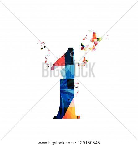 Vector illustration of colorful number one with butterflies