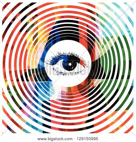Vector illustration of colorful hypnotic eye background