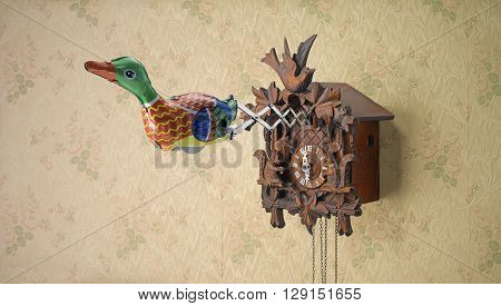 Retro Tin Toy Duck coming out of Cuckoo Clock