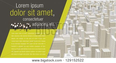 Template for advertising brochure with business people on a big city with buildings. Downtown.