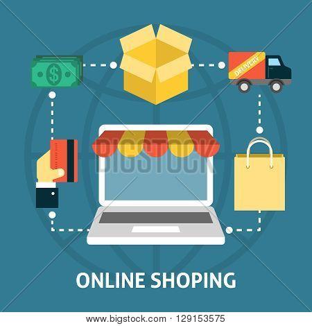 Online shoping concept. Internet shopping web design