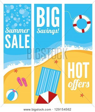 A summer beach banners with sun parasol towel ball and life ring
