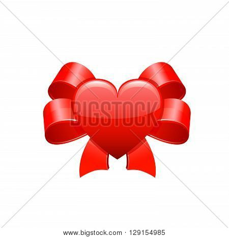Red bow. Vector illustration on whie background.