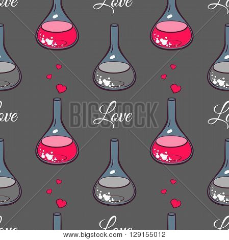 Seamless pattern made from hand drawn beakers with hearts and text on gray background. Chemistry of love. Vector illustration.