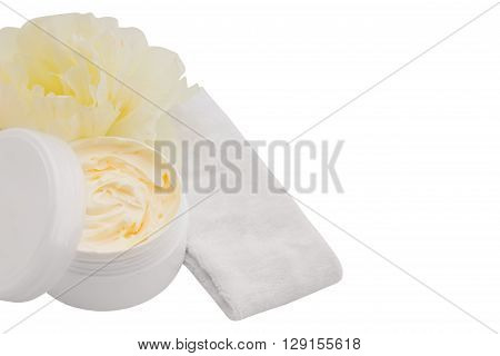 Cosmetic cream, headband and yellow flower, spa, skincare or haircare or bodycare, isolated on white