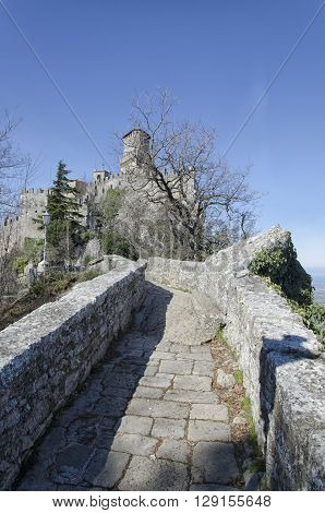 View of fairytale castle at San Marino