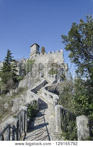 View of fairy tale castle at San Marino
