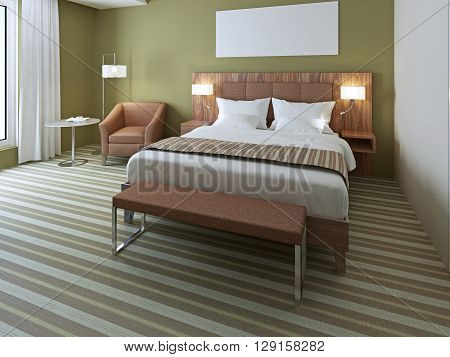 Beautiful double bed in olive bedroom. Luxuriant bed with stylysh wooden bedhead with two sconces. Bench in bedroom. 3D render