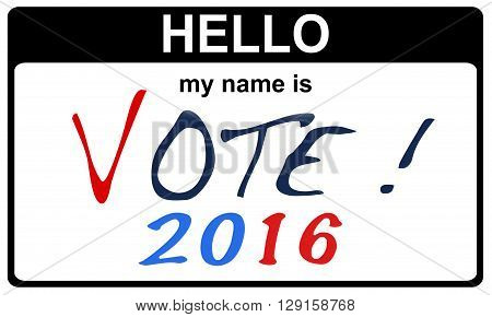 black sticker hello my name is vote 2016 concept 2D rendering