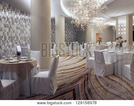 Empry hotel restaurant room. Preparing for the big celebration.3D render