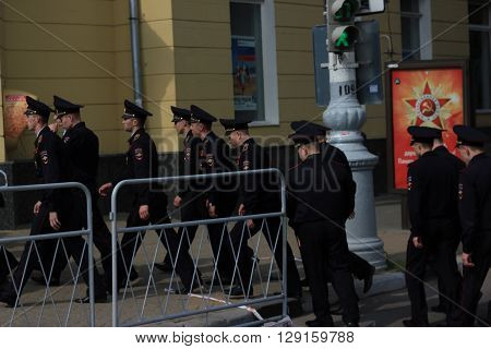Voronezh, Russia - May 9, 2016. Victory Day. The Russian police