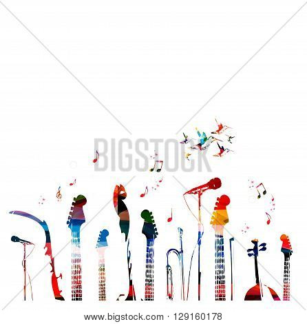 Colorful music instruments background with hummingbirds Vector