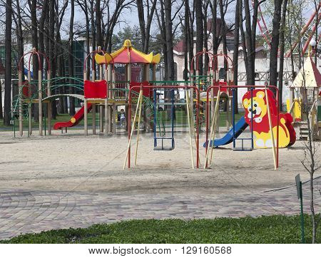 KHARKIV UKRAINE - APRIL 17 2016: The children playground in Gorky Park in Kharkiv