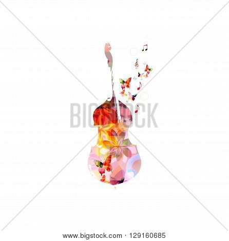Colorful violoncello with butterflies and notes. Vector