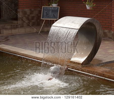 The hydromassage in the pool with thermal waters in Beregovo. Water temperature 38-40 degrees Celsius
