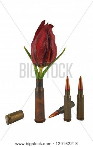 sleeve with a flower and three ordinary bullets