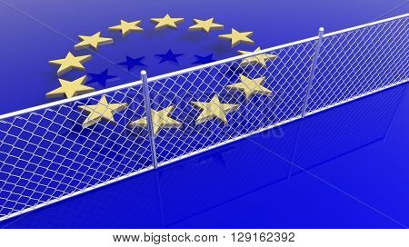 European Union flag's stars behind silver fence, 3D rendering.