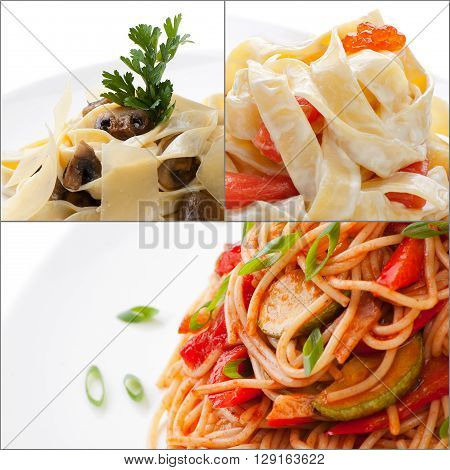 Collage with assorted delicious colorful italian pasta closeup isolated on white