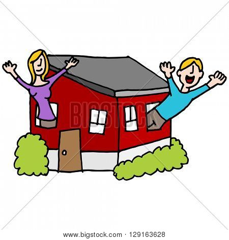 An image of a people waving from a tiny house.