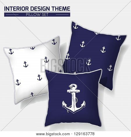 Decorative indigo & white nautical throw pillow design with hand drawn anchor & rope. Modern Interior design element. Creative Sofa Toss Pillow. Vector design template is layered editable.
