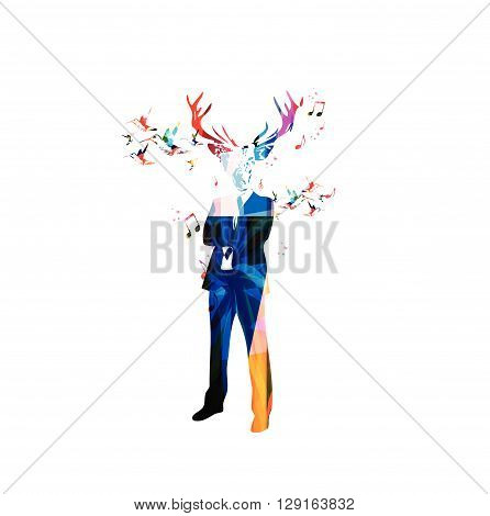 Vector illustration of colorful man with dear's head