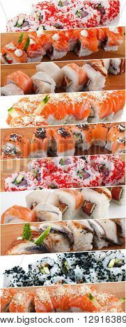 Assorted delicious savory sushi rolls collage, asian japanese food
