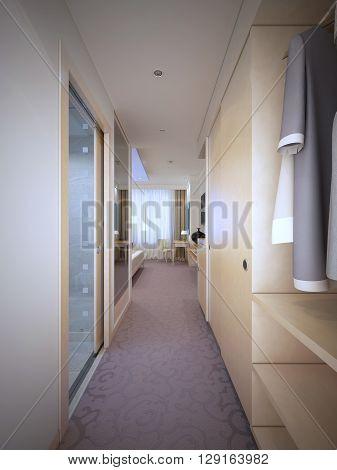 Entrance of expensive hotel room. 3D render