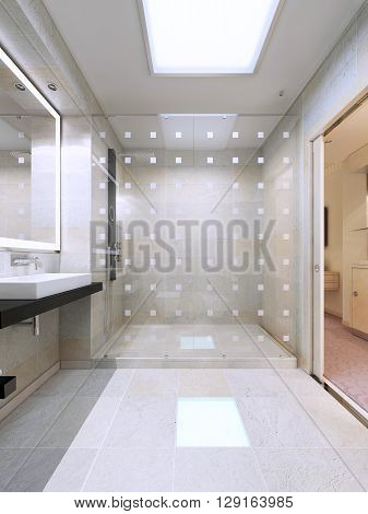 Shower with glass partition in bright white bathroom. Simple and elegant interior. 3D render
