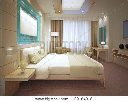 Elegant master bedroom trend. Large panneled storage system behind bed. Suspended ceiling. 3D render