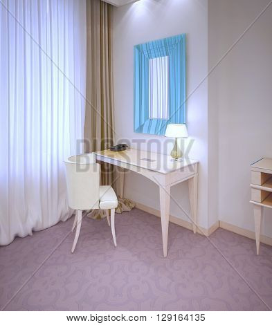 Dressing table in expensive hotel room near window. 3D render