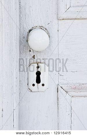 Vintage door knob and keyhole