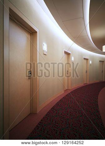 Bright contemporary hallway in round hotel complex. 3D render