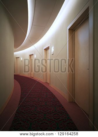 Interrior of bright hotel complex corridor. Art deco styled round hall with doors. 3D render