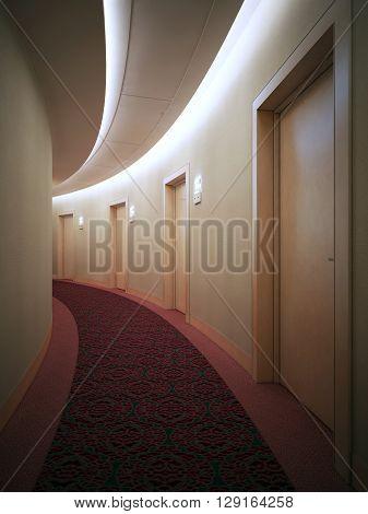 Interrior of bright hotel complex corridor. Art deco styled round hall with doors. 3D render