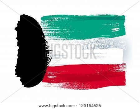 Kuwait colorful brush strokes painted national country flag icon. Painted texture.