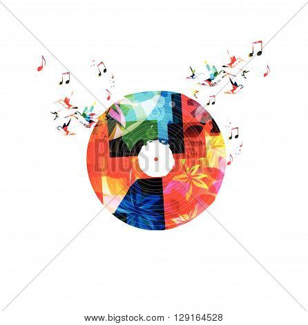 Colorful music background with vinyl LP record. Vector illustration