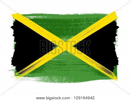 Jamaica colorful brush strokes painted national caribbean country flag icon. Painted texture.