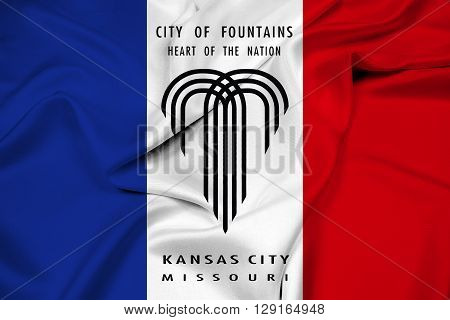 Waving Flag of Kansas City Missouri, with beautiful satin background.