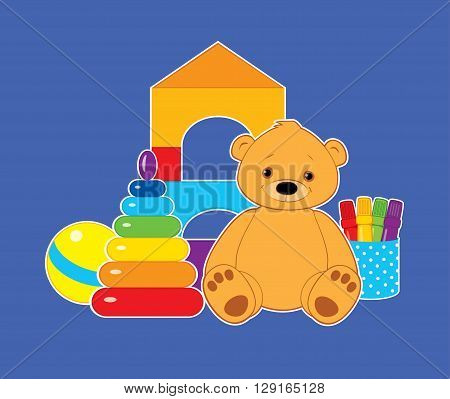 Vector colorful illustration for children, toys on a blue background. Brown teddy bear, ball, blocks, felt tip pens and rainbow stacking rings tower. White outline. Horizontal format.