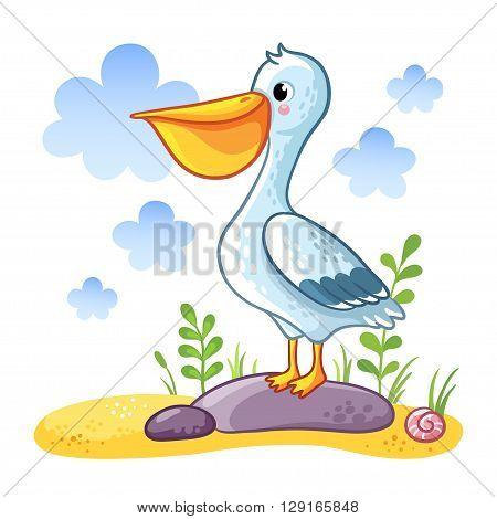 Cute cartoon Pelican. Pelican standing on a rock in the bay. Vector illustration.
