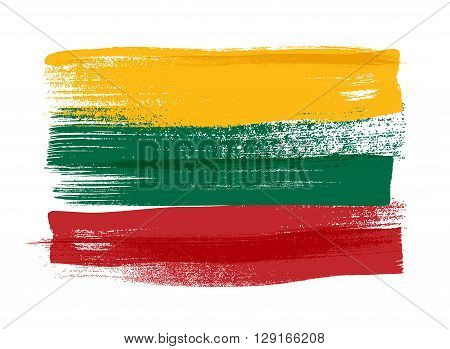 Lithuania colorful brush strokes painted national baltic country Lithuanian flag icon. Painted texture.