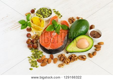 Food sources of omega 3 and healthy fats healthy heart concept .