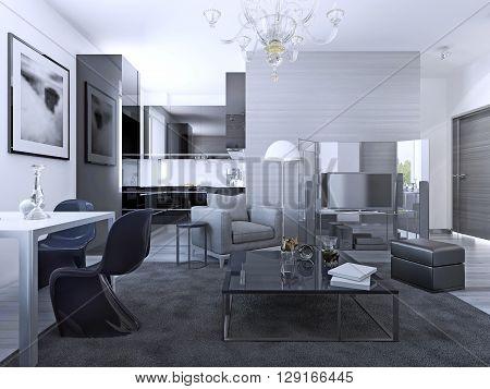 Contemporary living room studio. Light grey walls IKEA furniture elegant kitchen of background. 3D render